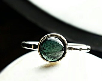 Indicolite Tourmaline Ring Blue Tourmaline Ring Tourmaline Stacking Ring Blue Gemstone Ring October Birthstone Ring Healing Ring