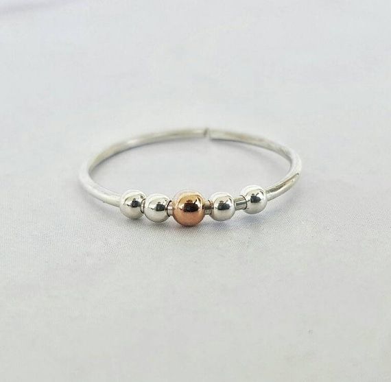 Womens Spinner Ring Gold Worry Ring Meditation Ring Dainty Fidget Ring Anxiety Ring Fidget Jewelry