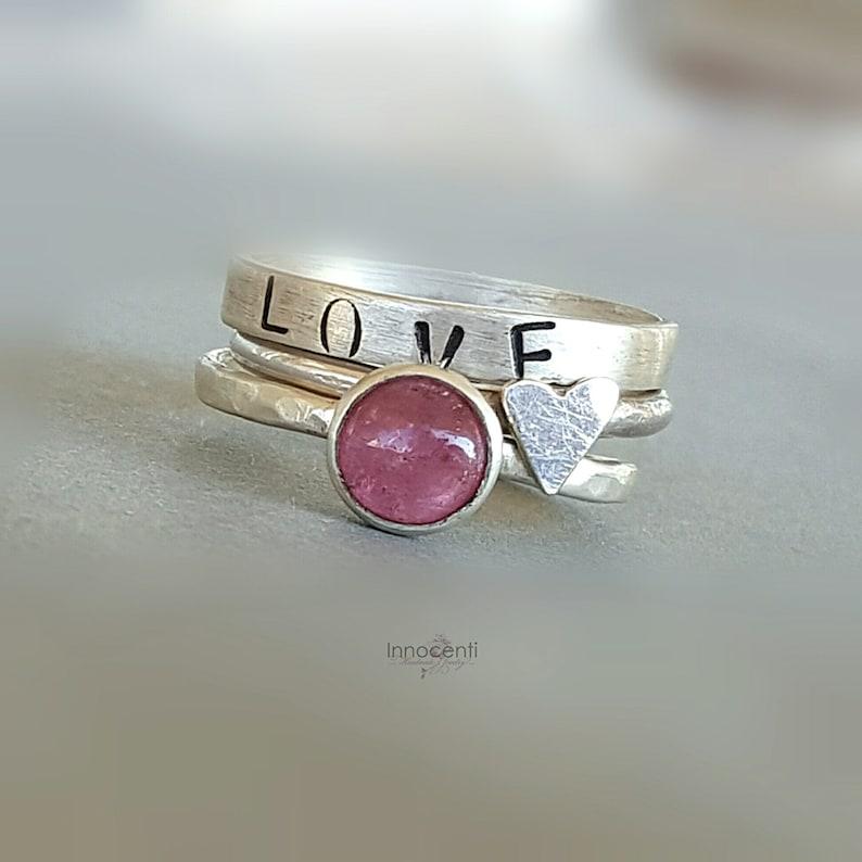 Graduation Gift Stacking Rings Love Gift Gift for Her Wife Gift Anniversary Gift Stacking Ring Set Tourmaline Ring Set October Birthstone