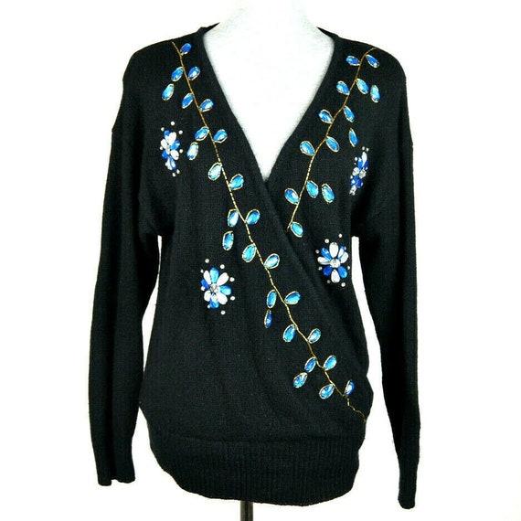 Vtg 80s FLORAL SILK /& ANGORA Sweater Medium