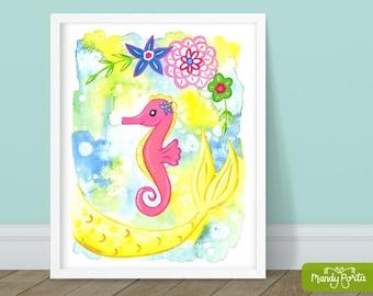 "Seahorse Mermaid Art Print 8"" x 10"" | Sea Animal Wall Decor, Under the Sea Decor, Beach Painting, Gouache Mermaid, Floral, Kids Room"
