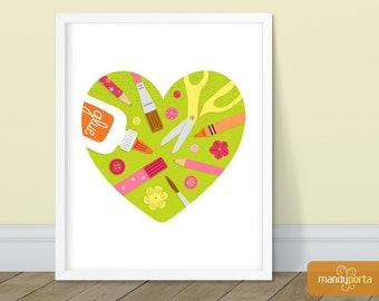 "Love To Craft Art Print 8"" x 10"" | Wall Decor for Craft Room, Playroom, Kids Room, Art Studio, Classroom"