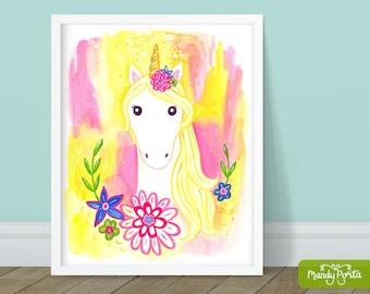 "Floral Unicorn Art Print 8"" x 10"" | Magical Wall Decor, Unicorn Painting, Gouache, Giclee, Girls Decor, Kids Room"