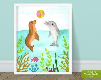 "Playful Dolphin and Seal Art Print 8"" x 10"" | Sea Animal Wall Decor, Under the Sea Decor, Beach Art, Friendship Art, Kids Room"