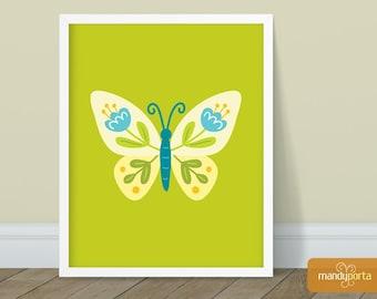 "Joyful Folk Butterfly Giclee Art Print 8"" x 10"" | Bright Floral Butterfly Wall Decor for Office, Living Room, Studio"