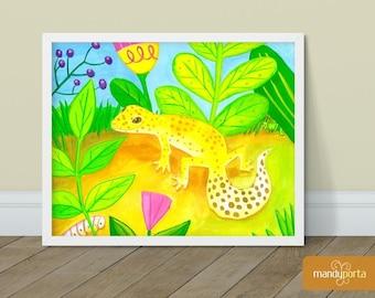 "Leopard Gecko Giclee Art Print 8"" x 10"" | Bright Reptile Wall Decor for Kids Playroom, Children's Bedoom | Gouache Painting"