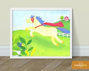 "Super Horse Giclee Art Print 8"" x 10"" | Superhero Wall Decor for Kids Playroom, Children's Bedoom | Gouache Painting"