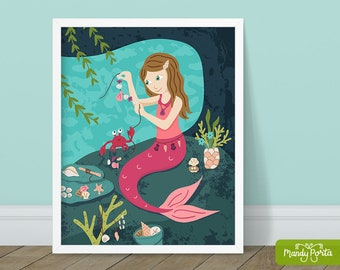"Maker Mermaid Art Print 8"" x 10"" | Pink Mermaid Jewelry Maker Wall Decor, Kids Room Illustration, Under the Sea Decor, Craft Lover"