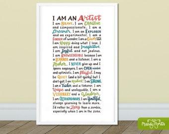 Artist Alphabet Quote Art Print | Hand Lettered Motivational Quote, Artist Wall Decor, Art Studio Decor, Art Teacher Classroom