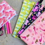 Patterned Pencil Case for Girls | Zipper Pouch, Art Supply and Craft Storage, School Pencil Bag, Makeup Bag, Mermaids, Unicorns, Butterflies