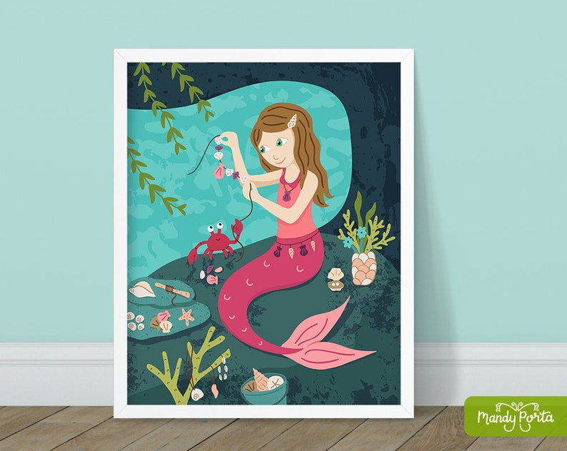 Maker Mermaid Art Print 8 x 10  Pink Mermaid image 1