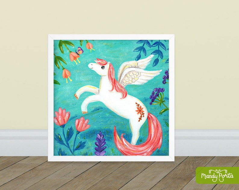 Pegasus with Butterfly Square Art Print 8 x 8  image 0