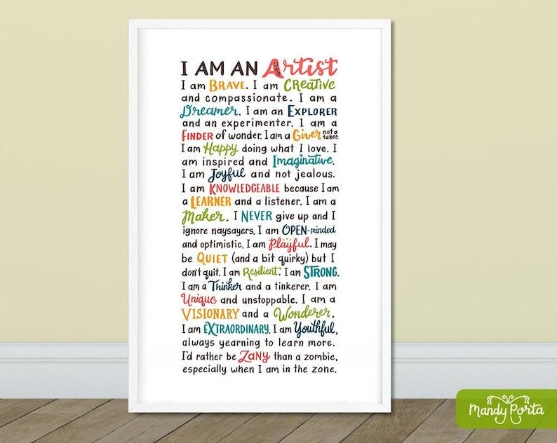 Artist Alphabet Quote Art Print  Hand Lettered Motivational image 0