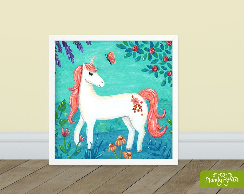 Unicorn with Butterfly Square Art Print 8 x 8  image 0