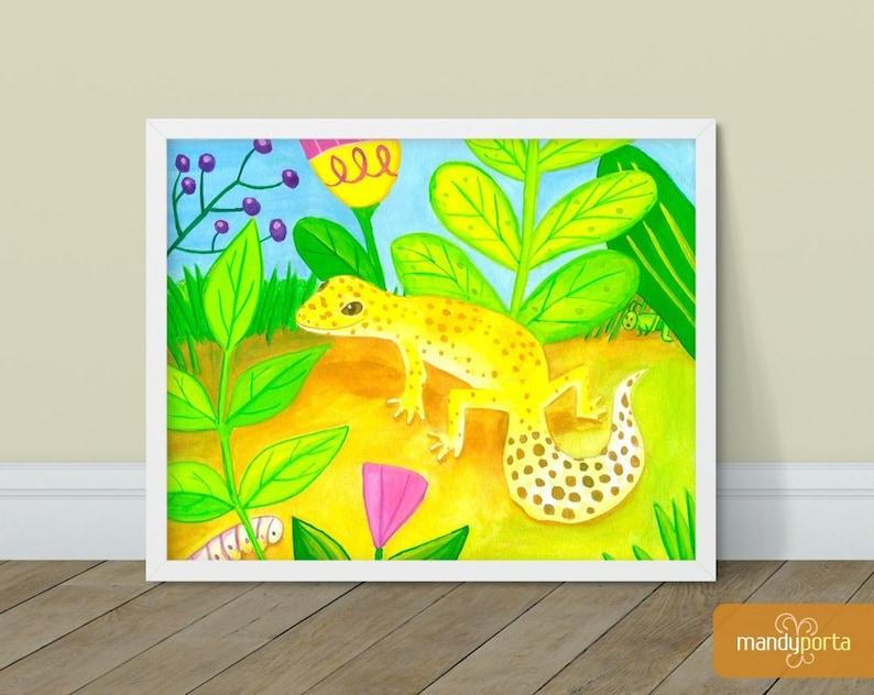 Leopard Gecko Giclee Art Print 8 x 10  Bright image 0