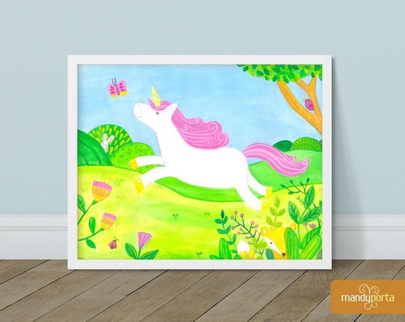 Unicorn Chasing Butterfly Giclee Art Print 8 x 10 image 0