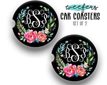 Personalized Monogrammed Car Cup holder Coaster, Coworker Gift, Custom Car decor, Custom Car Accessories Women, Graduation Gift (CAR0025)