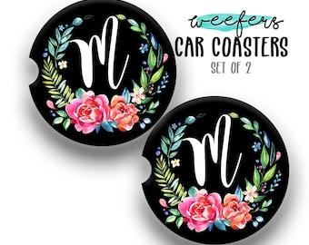 Sandstone Floral Initial Car Coaster, Car Accessories for her, Custom Auto Decor, Coaster, Cup Holder Coaster, Circle Monogram Car Coaster