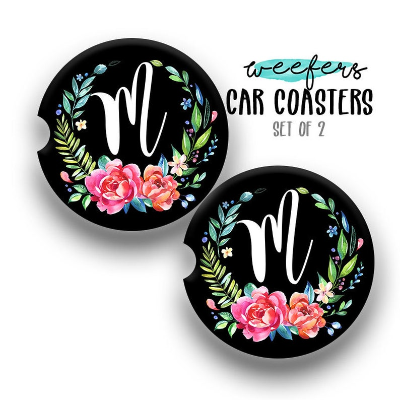 Sandstone Floral Initial Car Coaster Car Accessories for her image 0