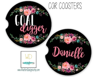 Goal Digger Car Coasters, Funny Car Accessories, Gifts for her, New Car Gift, New Job Gift, Cup Holder Coaster, New Office Gift (CAR0055)
