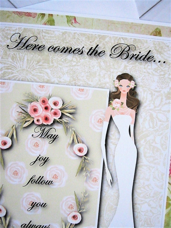 Bride To Be Card Bridal Shower Card Here Comes The Bride Etsy