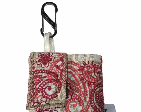 Red Paisley Insulated Insulin Pump Case Pouch with NiteIze S-clip