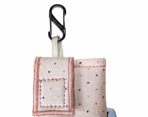 Rose Pink Polkadot Insulated Insulin Pump Case with NiteIze S-clip