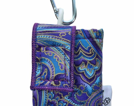 Purple-Teal Paisley Insulated Insulin Pump Case Pouch with Carabiner Clip