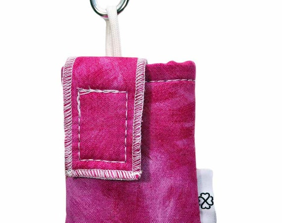 Pink Watercolor Insulated Insulin Pump Case with Carabiner Clip