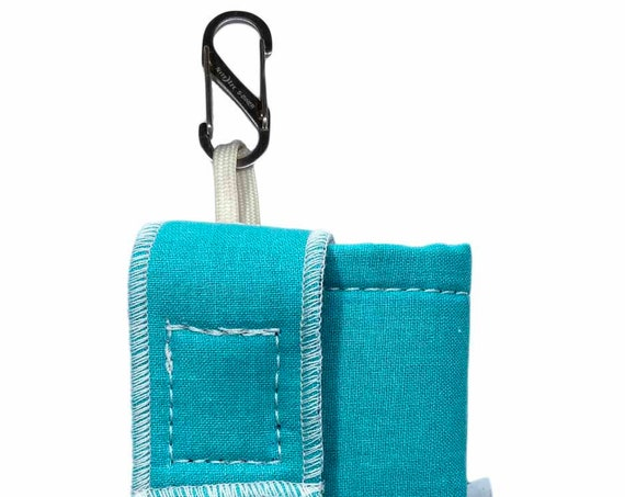 Teal Insulated Insulin Pump Case with NiteIze S-clip