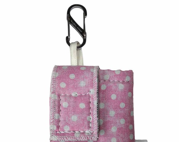 Pink Polkadot Insulated Insulin Pump Case with NiteIze S-clip
