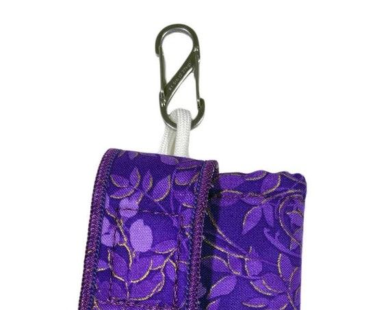 Purple-Gold Flower Insulated Insulin Pump Case with NiteIze S-clip