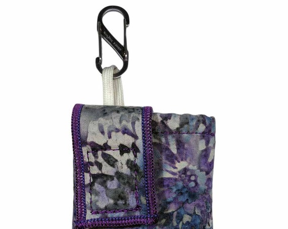 Storm Purple Flower Insulated Insulin Pump Case with NiteIze S-clip