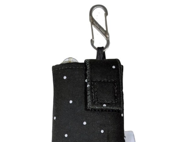 Black & White Polkadot Insulated Insulin Pump Case with NiteIze S-clip