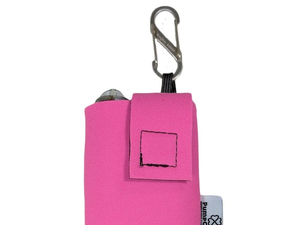 Pink Insulated Neoprene Insulin Pump Case with NiteIze S-clip