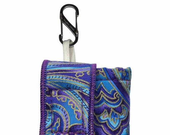 Purple-Teal Paisley Insulated Insulin Pump Case with NiteIze S-clip
