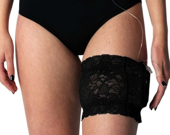 2020 Black Stretch Lace Garter for Insulin Pump, Insulin Pen, or ID