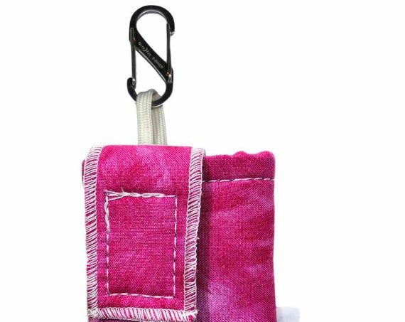 Pink Watercolor Insulated Insulin Pump Case with NiteIze S-clip