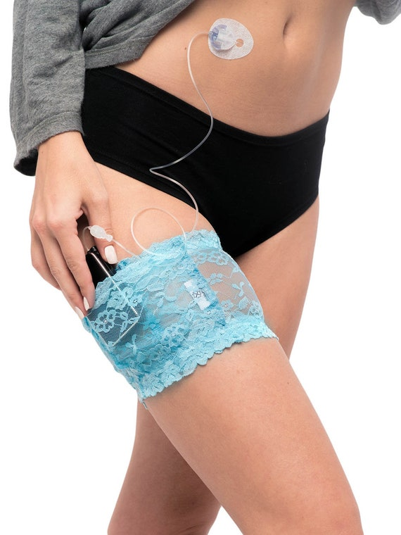Baby Blue Stretch Lace Garter for Insulin Pump, Insulin Pen, or ID