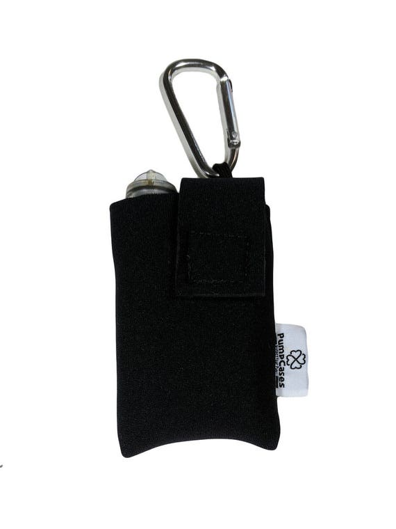 Neoprene Insulated Insulin Pump Case Pouch in Black or Blue with Carabiner Clip
