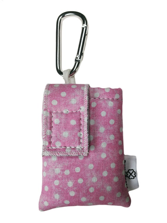 Pink Polkadot Insulated Insulin Pump Case Pouch with Carabiner Clip