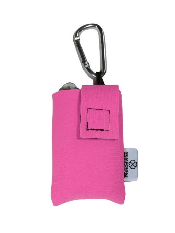 Pink Insulated Neoprene Insulin Pump Case / Pouch with Carabiner Clip