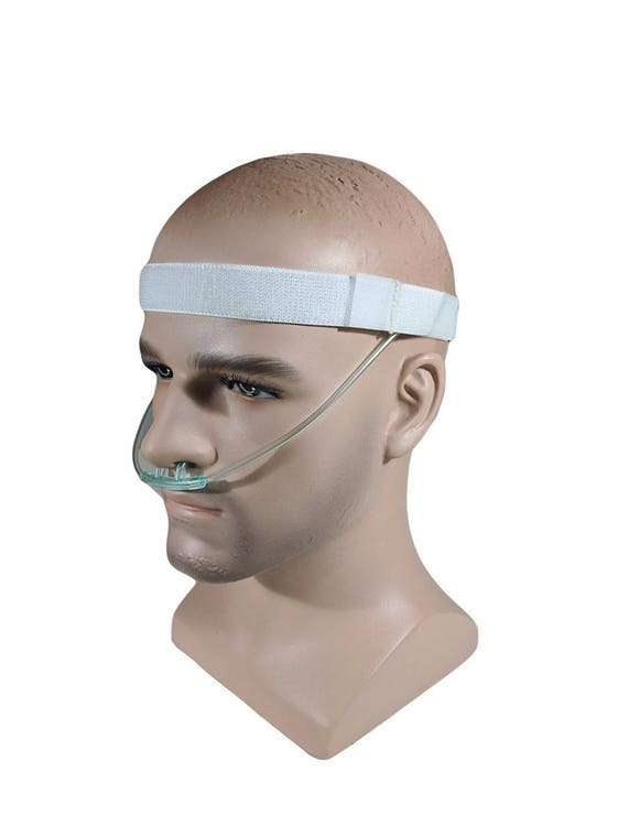 Adjustable White Cannula Headband - protection from ear irritation