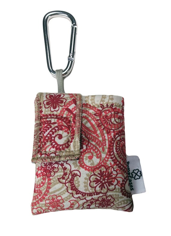 Red Paisley Insulated Insulin Pump Case Pouch with Carabiner Clip