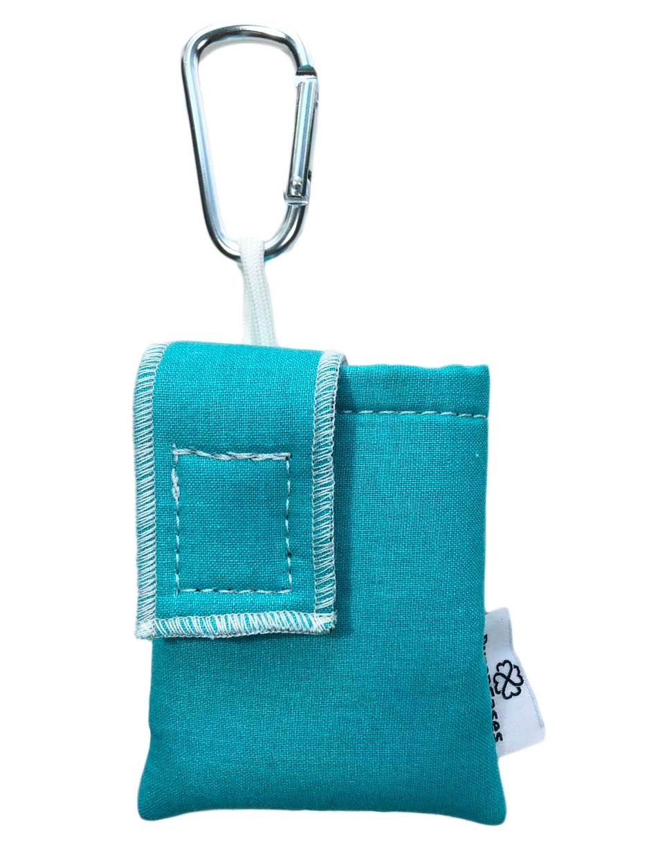 Teal Insulated Insulin Pump Case Pouch with Carabiner Clip