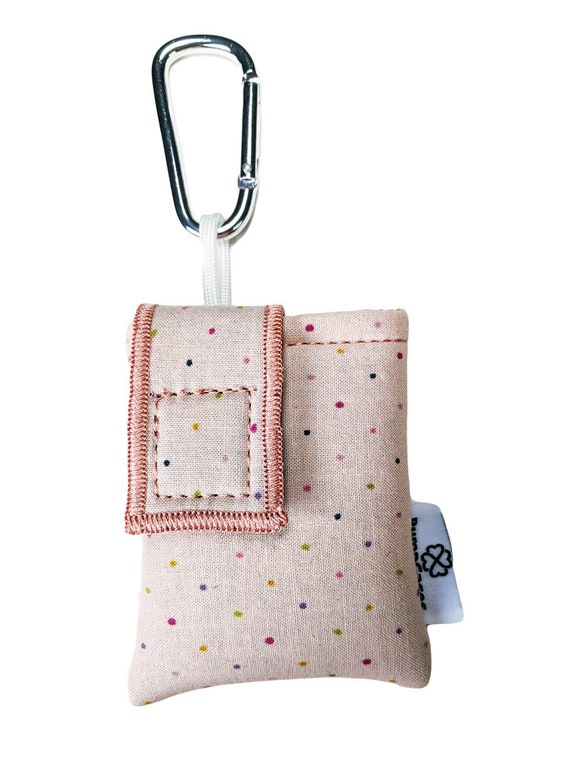 Rose Pink Polkadot Insulated Insulin Pump Case Pouch with Carabiner Clip
