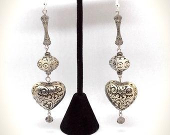 Large Silver Heart Dangle Earrings Repurposed Beads