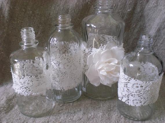 4 Schäbigen Hochzeit Tisch Herzstück Parfüm Flasche Spitzen | Etsy