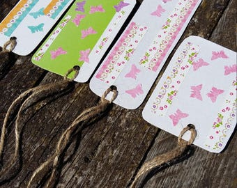 butterfly gift tags paper tag recycled cardboard handmade gift tags set of 4 cute tags baby shower party favor tags summer romantic pink