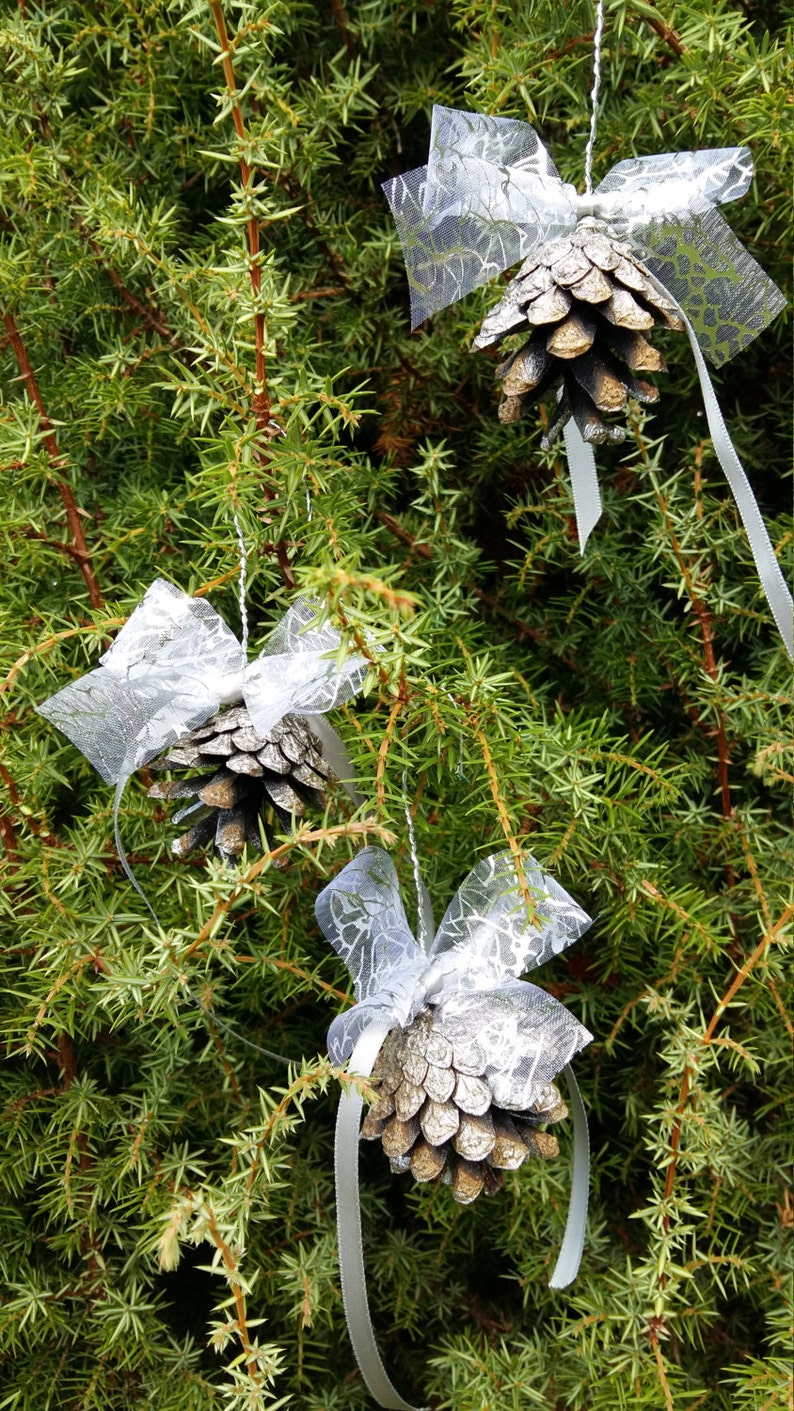 Christmas Tree Ornaments Natural Pine Cones Rustic Home Decor Etsy
